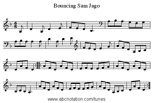 abc | Bouncing Sam Jago - thesession org/tunes/12335 no-ext/0001