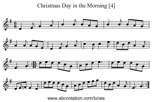 christmas day in the morning 4 staff notation - On Christmas Day In The Morning
