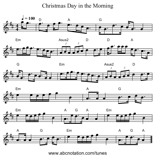christmas day in the morning staff notation - On Christmas Day In The Morning