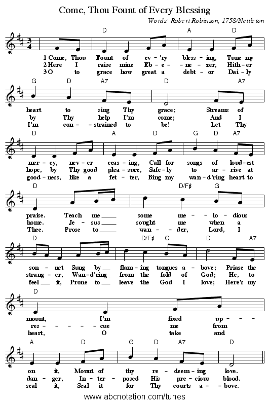 Come, thou fount of every blessing (by sally deford - oboe, vocal.