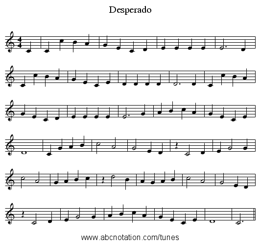 Desperado sheet music for piano, violin, trumpet, alto saxophone.
