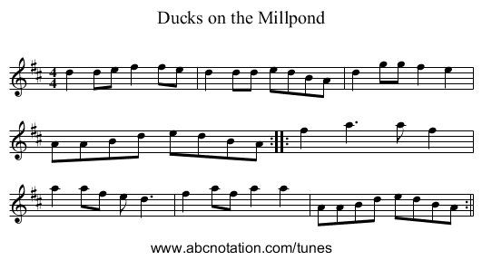 http://abcnotation.com/getResource/downloads/image/ducks-on-the-millpond.png?a=tunearch.org/wiki/Ducks_on_the_Millpond.no-ext/0001