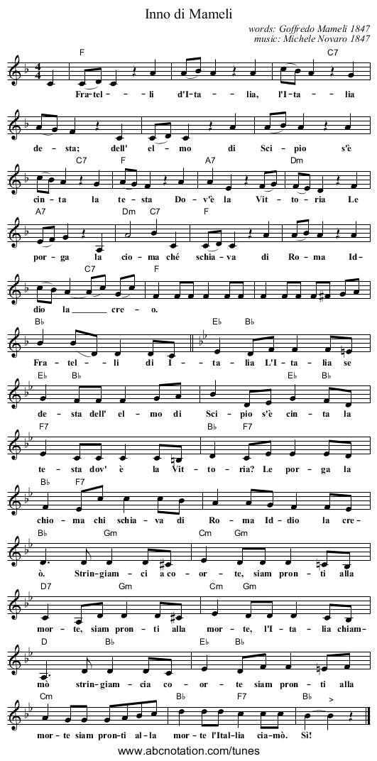 """Michele novaro """"l'inno di mameli"""" sheet music (piano solo) in g."""