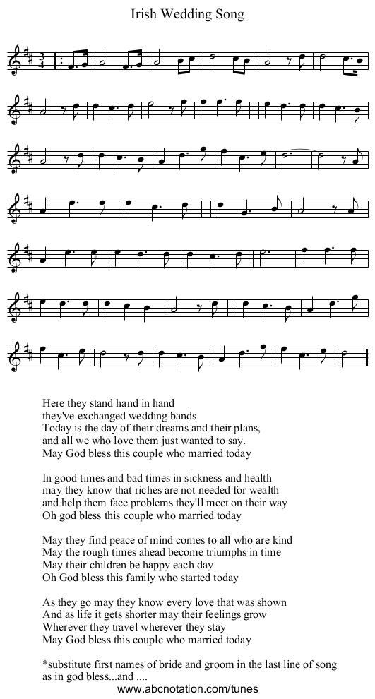 Irish Wedding Song Staff Notation