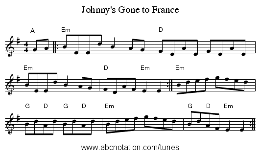 abc | Johnny's Gone to France - abc sourceforge net/NMD/nmd/reelsh-l