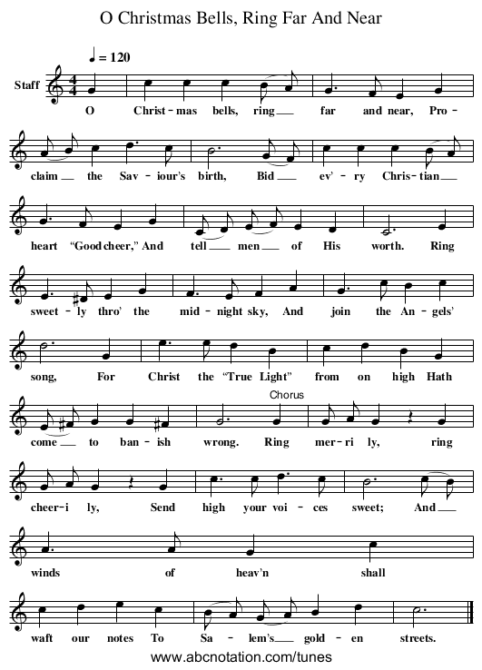 O Christmas Bells, Ring Far And Near - staff notation