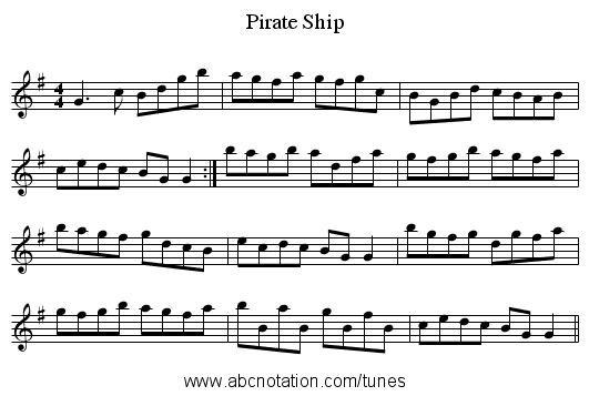 abc   Pirate Ship - trillian mit edu/~jc/music/abc/mirror