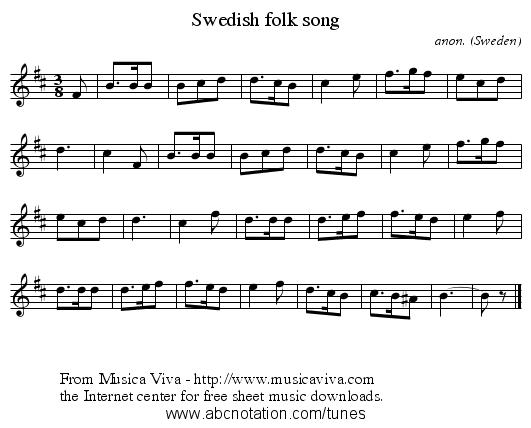 swedish folk song   staff