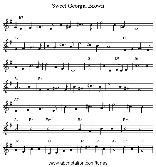 Sweet Georgia Brown Staff Notation