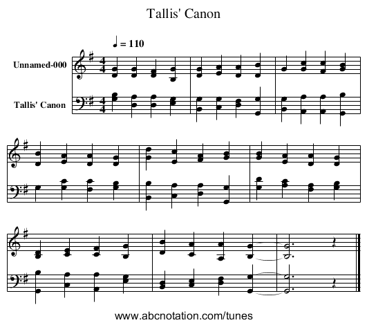 Tallis' Canon - Www.stephenmerrony.co.uk/ABC/Carols