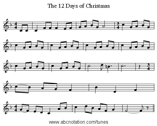 Twelve Days Of Christmas Sheet Music.Abc The 12 Days Of Christmas Back Numachi Com 8000 Dtrad