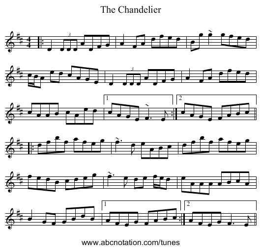 abc | The Chandelier - thesession.org/tunes/1479.no-ext/0001