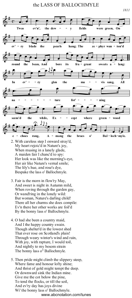 All Music Chords plain sheet music : abc | the LASS OF BALLOCHMYLE - trillian.mit.edu/~jc/music/book ...