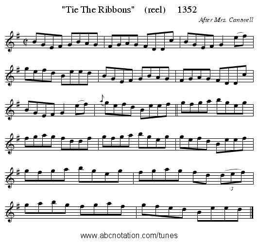 Tie The Ribbons (reel) 1352 - staff notation
