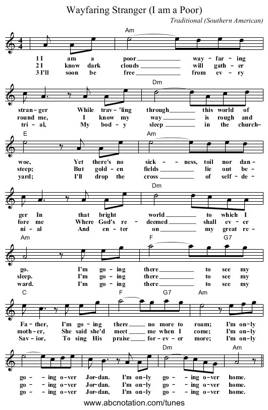 Mandolin u00bb Mandolin Chords Wayfaring Stranger - Music Sheets, Tablature, Chords and Lyrics