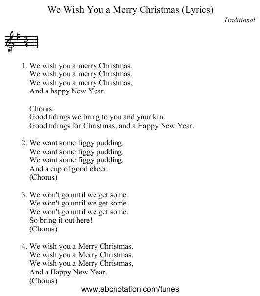 we wish you a merry christmas lyrics staff notation - We Wish You Merry Christmas