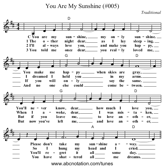 Capotastomusic Free Sheet Music Scores Love This Blog: You Are My Sunshine (#005) - Trillian.mit.edu/~jc
