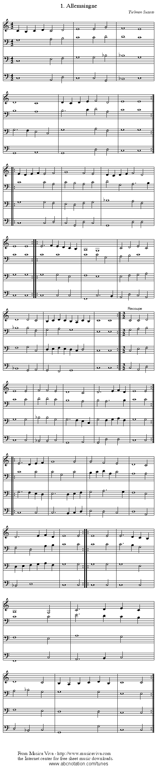 1. Allemaingne - staff notation