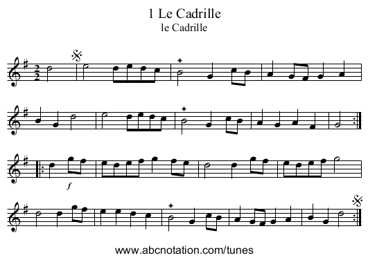 1 Le Cadrille - staff notation