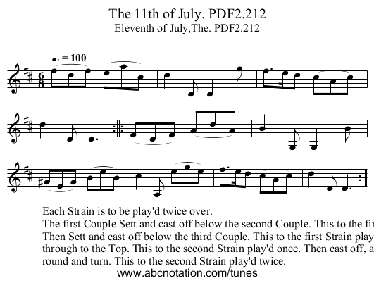 11th of July. PDF2.212, The - staff notation