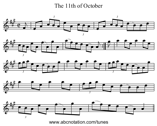 11th of October, The - staff notation