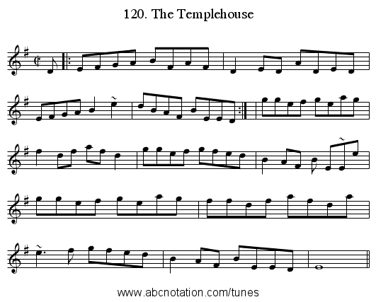 120. The Templehouse - staff notation