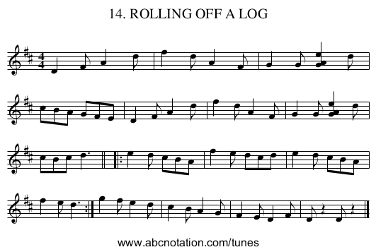 14. ROLLING OFF A LOG - staff notation