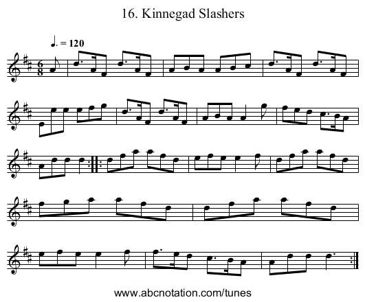 16. Kinnegad Slashers - staff notation
