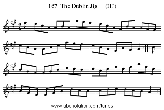 167  The Dublin Jig     (HJ) - staff notation