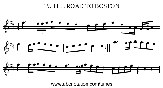 19. THE ROAD TO BOSTON - staff notation