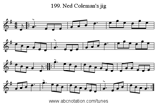 199. Ned Coleman's jig - staff notation