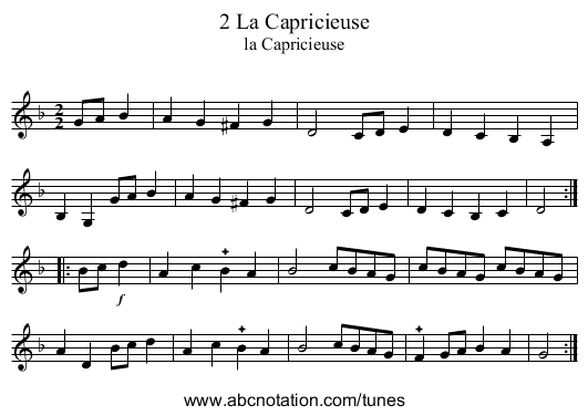 2 La Capricieuse - staff notation