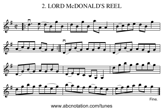 2. LORD McDONALD'S REEL - staff notation