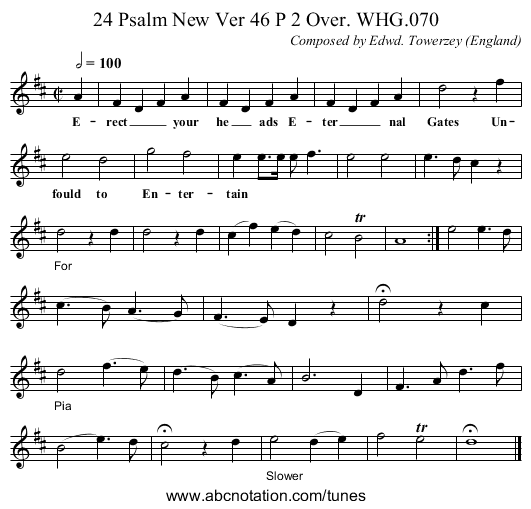 24 Psalm New Ver 46 P 2 Over. WHG.070 - staff notation