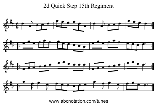 2d Quick Step 15th Regiment - staff notation