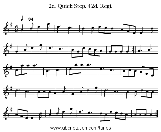 2d. Quick Step. 42d. Regt. - staff notation