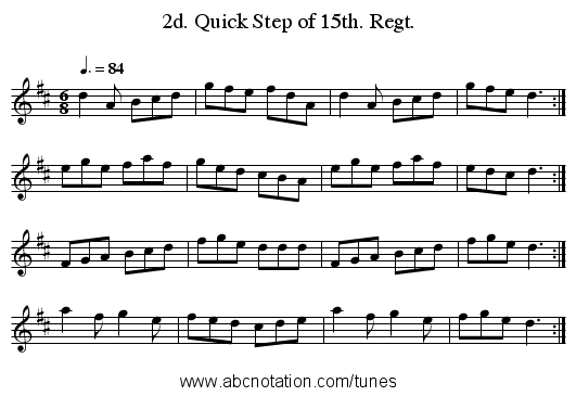 2d. Quick Step of 15th. Regt. - staff notation