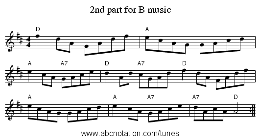2nd part for B music - staff notation