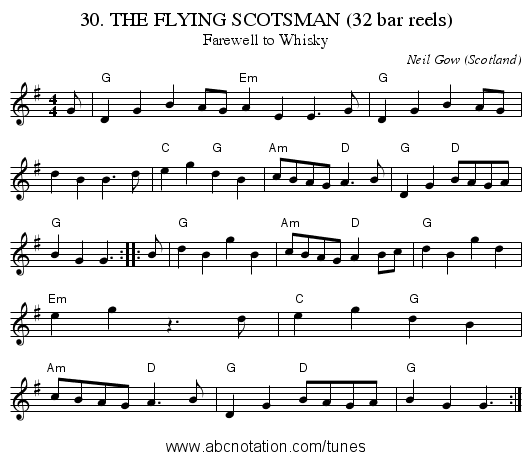 30. THE FLYING SCOTSMAN (32 bar reels) - staff notation