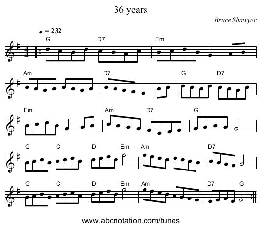 36 years - staff notation