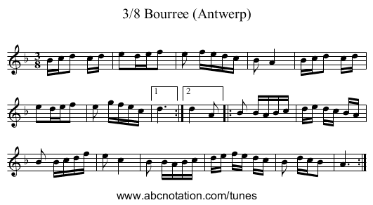 3/8 Bourree (Antwerp) - staff notation