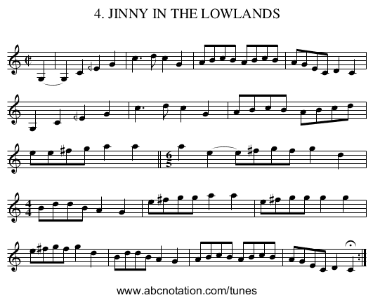 4. JINNY IN THE LOWLANDS - staff notation