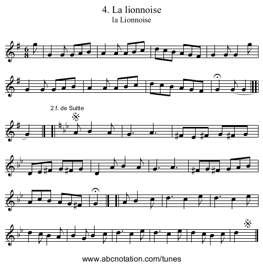 4. La lionnoise - staff notation