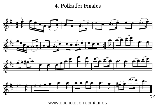 4. Polka for Finales - staff notation