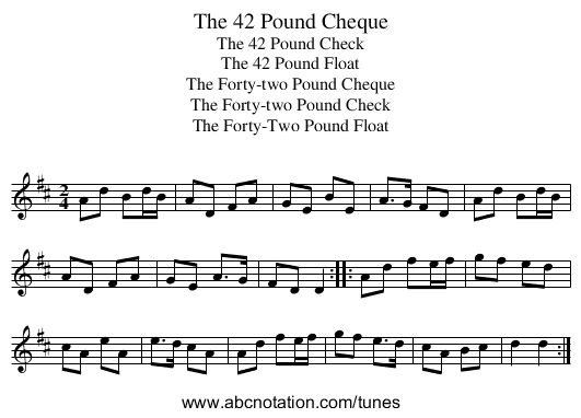 42 Pound Cheque, The - staff notation