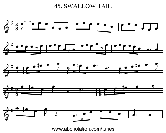 45. SWALLOW TAIL - staff notation
