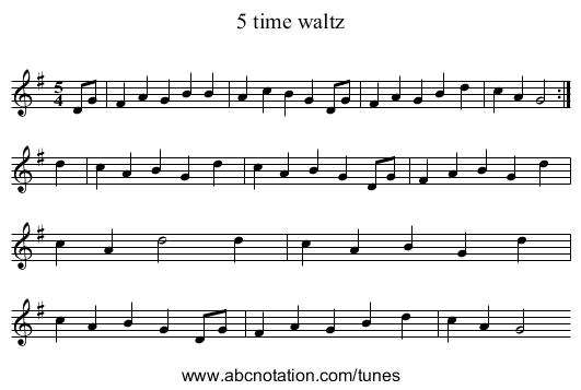5 time waltz - staff notation