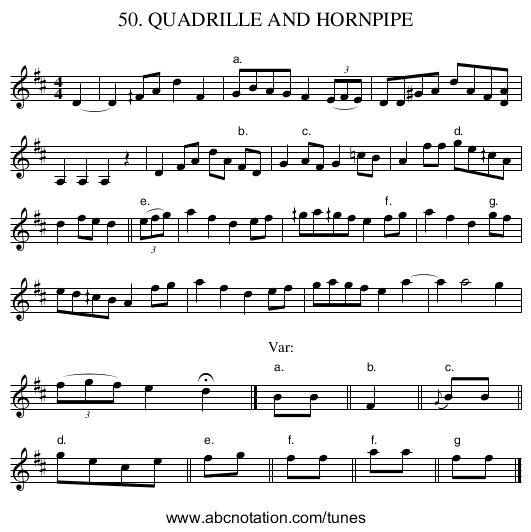 50. QUADRILLE AND HORNPIPE - staff notation