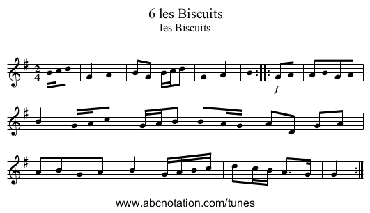 6 les Biscuits - staff notation