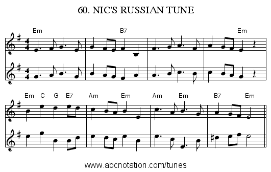 60. NIC'S RUSSIAN TUNE - staff notation
